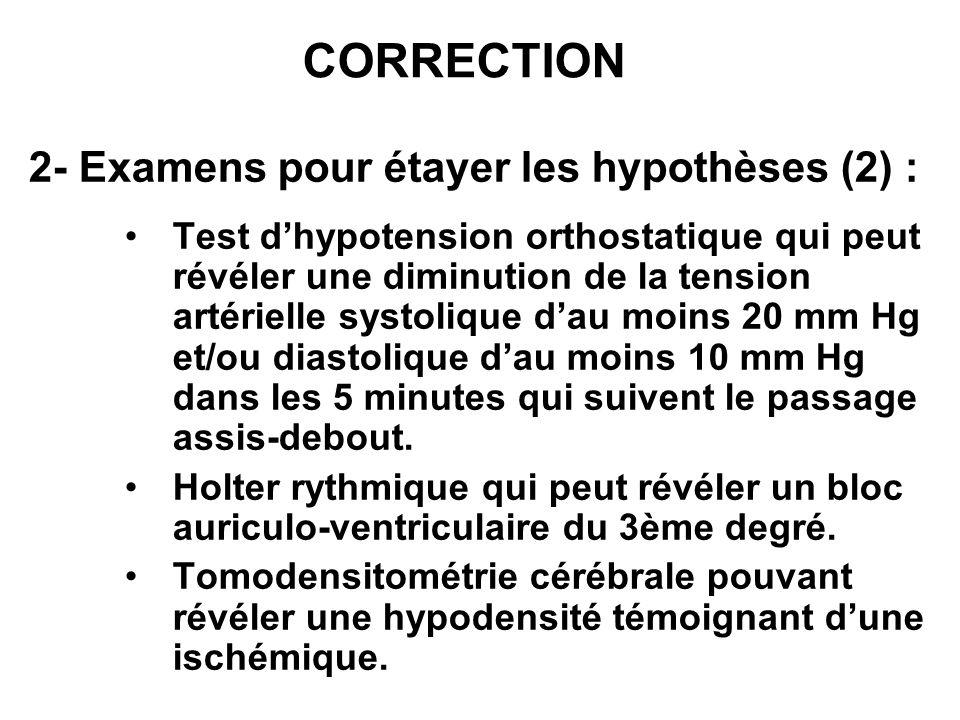 CORRECTION 2- Examens pour étayer les hypothèses (2) : Test dhypotension orthostatique qui peut révéler une diminution de la tension artérielle systol