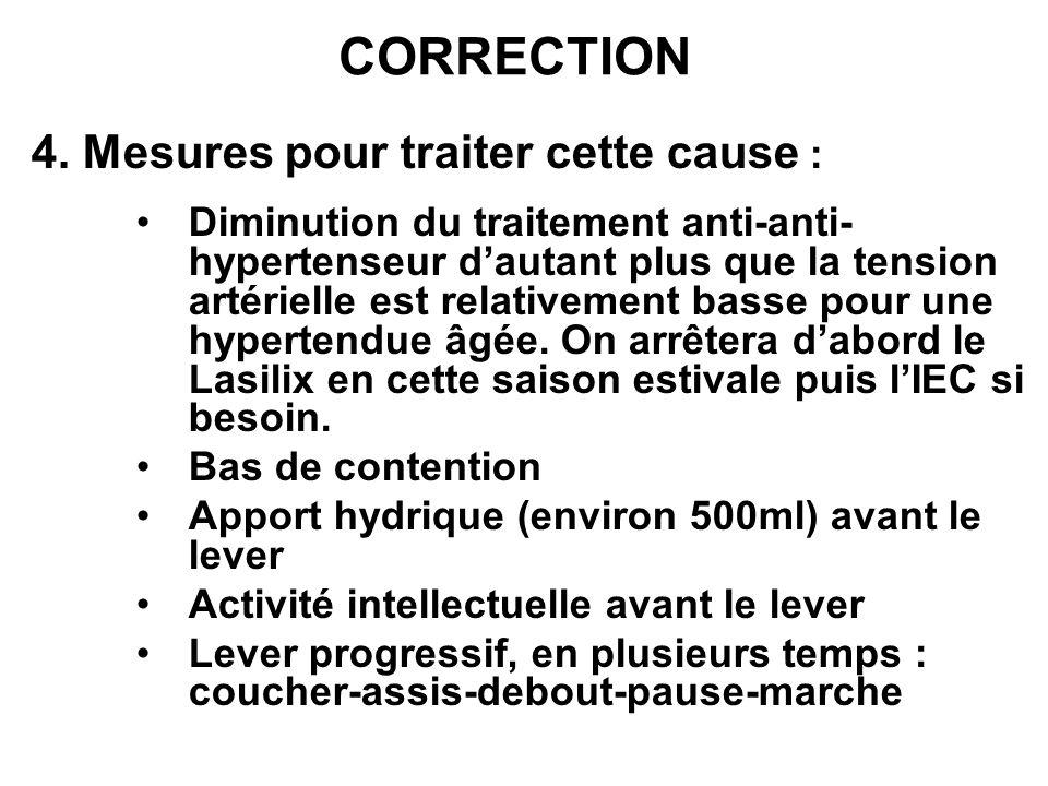 CORRECTION 4. Mesures pour traiter cette cause : Diminution du traitement anti-anti- hypertenseur dautant plus que la tension artérielle est relativem