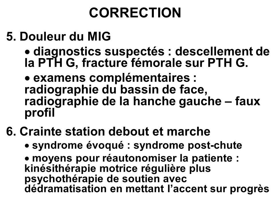 CORRECTION 5. Douleur du MIG diagnostics suspectés : descellement de la PTH G, fracture fémorale sur PTH G. examens complémentaires : radiographie du