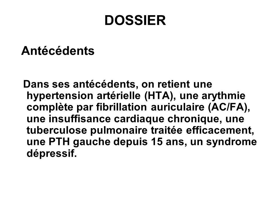 Traitement Son traitement habituel comporte : Furosémide (Lasilix ) 40 mg par jour, Amlodipine (Amlor ) 5 mg par jour, Digoxine 0,25 mg par jour, Diosmine (Diovenor ) 600 mg x 3 par jour et Lisinopril (Zestril ) 20 mg par jour.