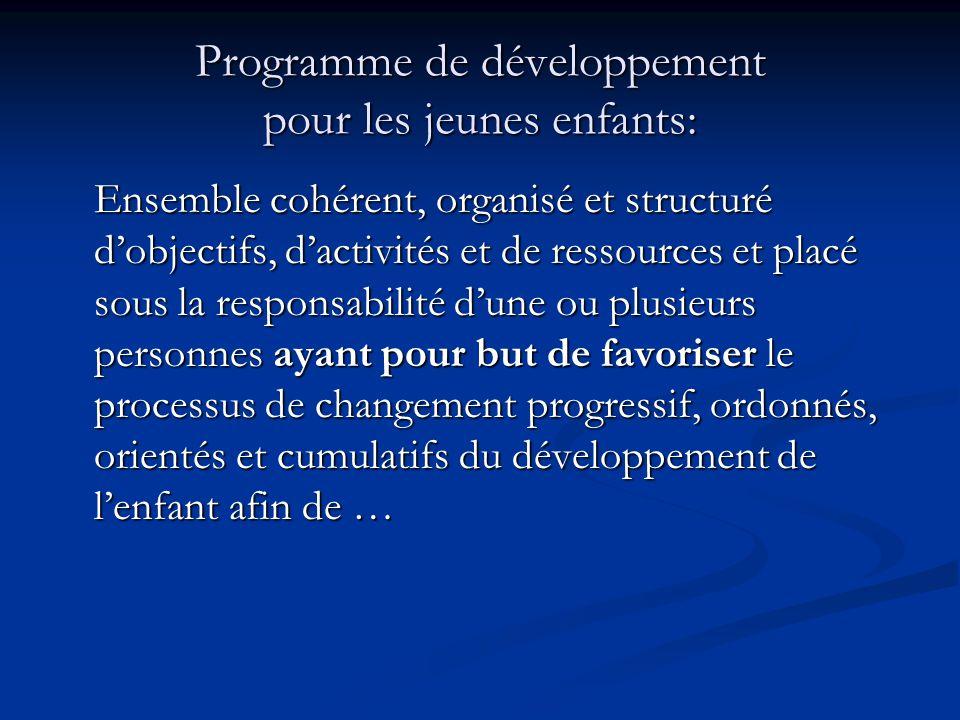 Programme de développement pour les jeunes enfants: Ensemble cohérent, organisé et structuré dobjectifs, dactivités et de ressources et placé sous la responsabilité dune ou plusieurs personnes ayant pour but de favoriser le processus de changement progressif, ordonnés, orientés et cumulatifs du développement de lenfant afin de …