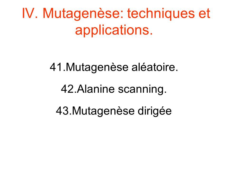 IV. Mutagenèse: techniques et applications. 41.Mutagenèse aléatoire. 42.Alanine scanning. 43.Mutagenèse dirigée