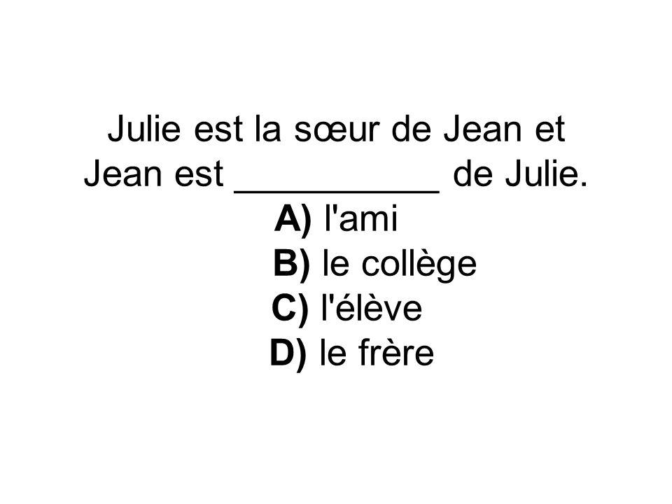 Sylvie est __________ dans un collège français. A) amie B) sœur C) élève D) école