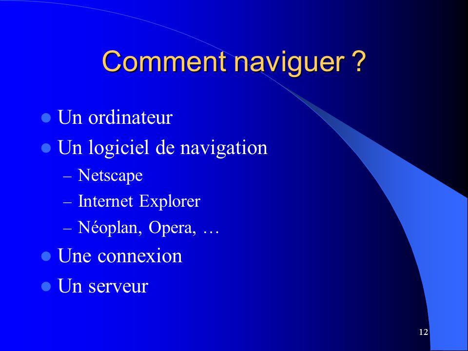 12 Comment naviguer ? Un ordinateur Un logiciel de navigation – Netscape – Internet Explorer – Néoplan, Opera, … Une connexion Un serveur