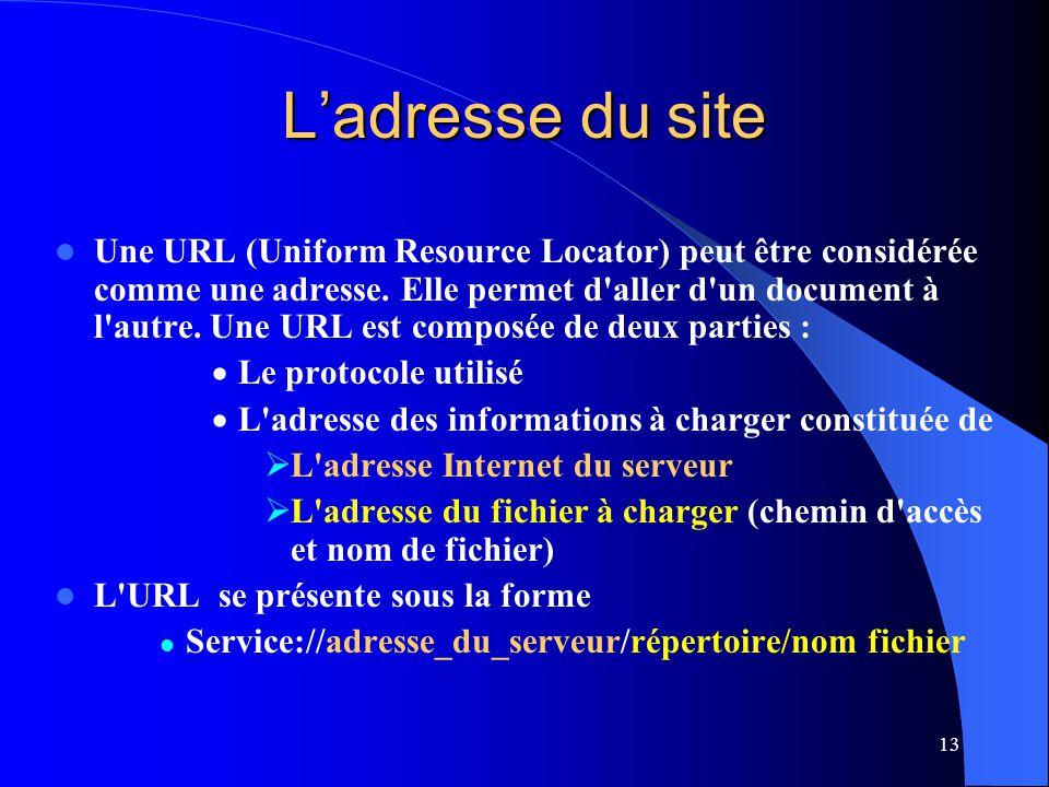 13 Ladresse du site Une URL (Uniform Resource Locator) peut être considérée comme une adresse. Elle permet d'aller d'un document à l'autre. Une URL es
