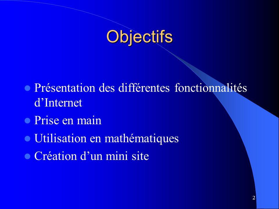 2 Objectifs Présentation des différentes fonctionnalités dInternet Prise en main Utilisation en mathématiques Création dun mini site