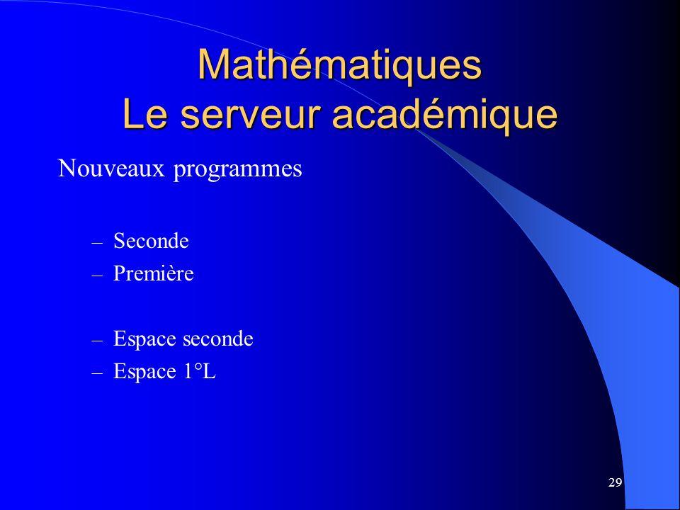 29 Mathématiques Le serveur académique Nouveaux programmes – Seconde – Première – Espace seconde – Espace 1°L