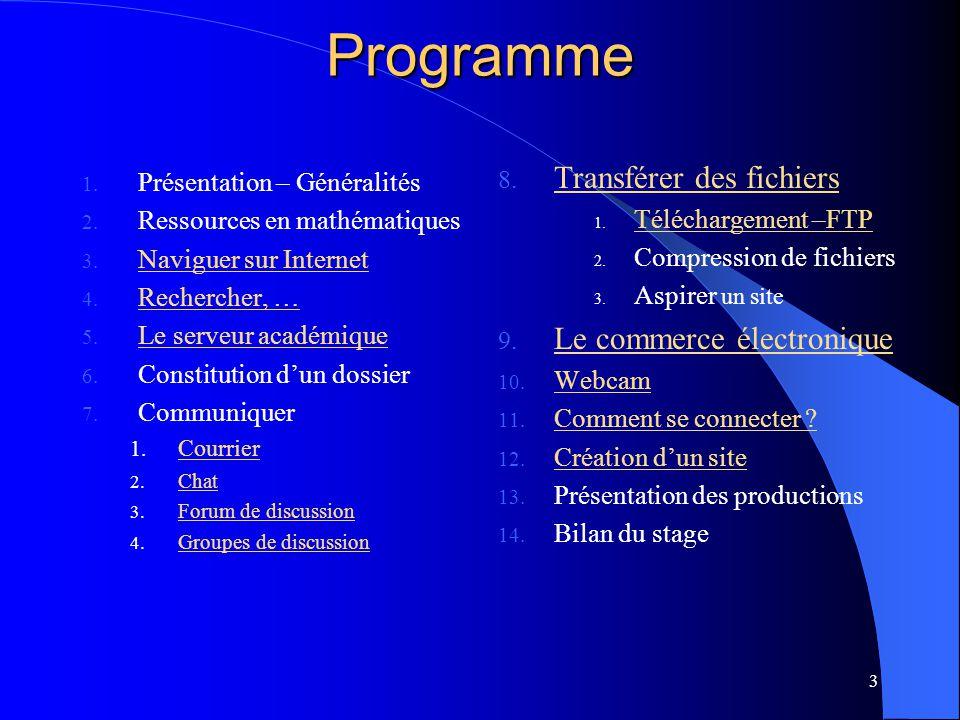 3 Programme 1. Présentation – Généralités 2. Ressources en mathématiques 3. Naviguer sur Internet Naviguer sur Internet 4. Rechercher, … Rechercher, …