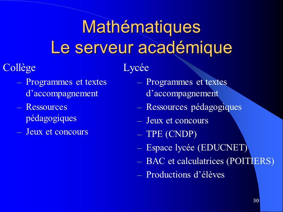 30 Mathématiques Le serveur académique Collège – Programmes et textes daccompagnement – Ressources pédagogiques – Jeux et concours Lycée – Programmes