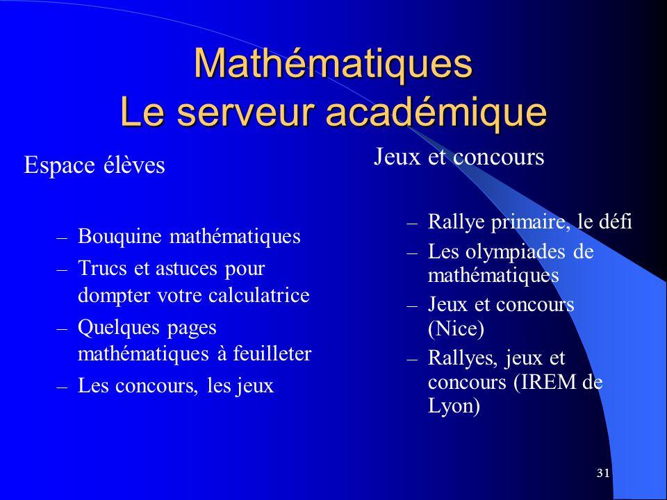 31 Mathématiques Le serveur académique Espace élèves – Bouquine mathématiques – Trucs et astuces pour dompter votre calculatrice – Quelques pages math