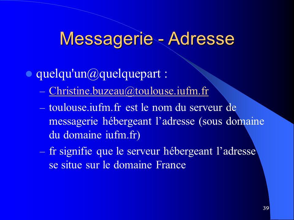 39 Messagerie - Adresse quelqu'un@quelquepart : – Christine.buzeau@toulouse.iufm.fr Christine.buzeau@toulouse.iufm.fr – toulouse.iufm.fr est le nom du