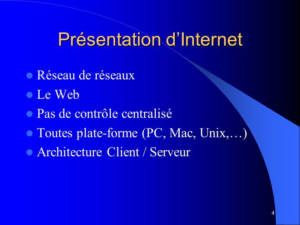 4 Présentation dInternet Réseau de réseaux Le Web Pas de contrôle centralisé Toutes plate-forme (PC, Mac, Unix,…) Architecture Client / Serveur