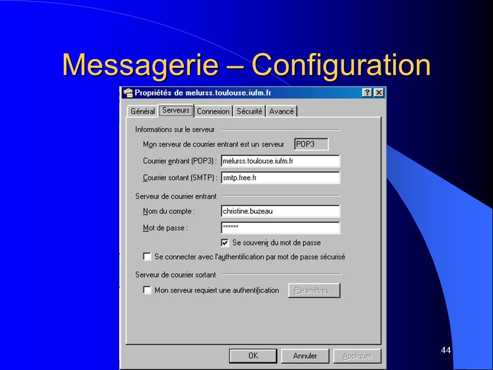 44 Messagerie – Configuration