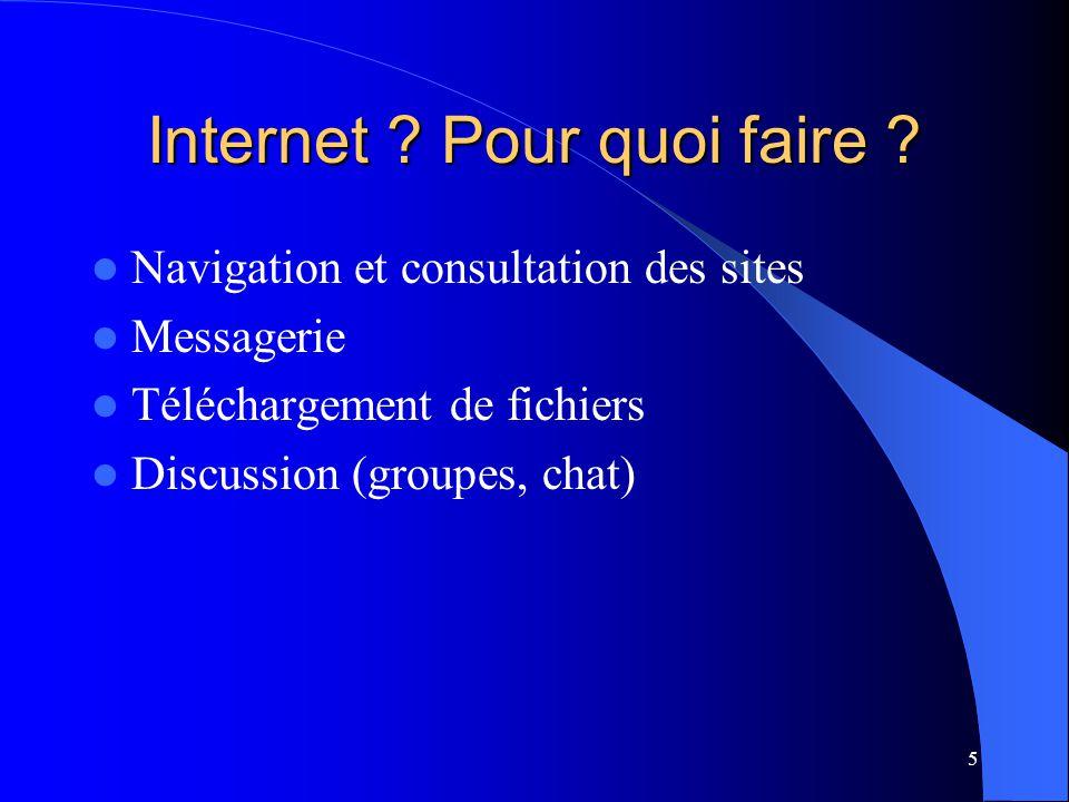 5 Internet ? Pour quoi faire ? Navigation et consultation des sites Messagerie Téléchargement de fichiers Discussion (groupes, chat)