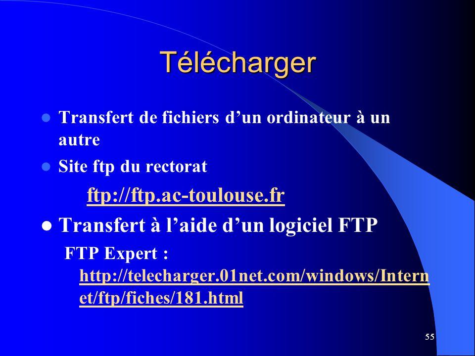 55 Télécharger Transfert de fichiers dun ordinateur à un autre Site ftp du rectorat ftp://ftp.ac-toulouse.fr Transfert à laide dun logiciel FTP FTP Ex