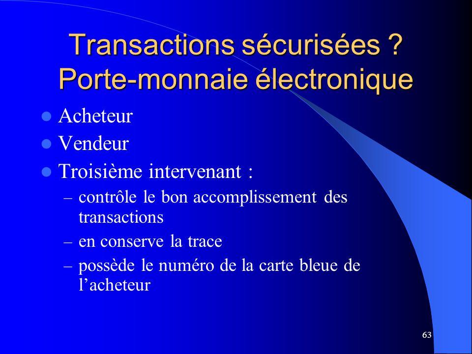 63 Transactions sécurisées ? Porte-monnaie électronique Acheteur Vendeur Troisième intervenant : – contrôle le bon accomplissement des transactions –