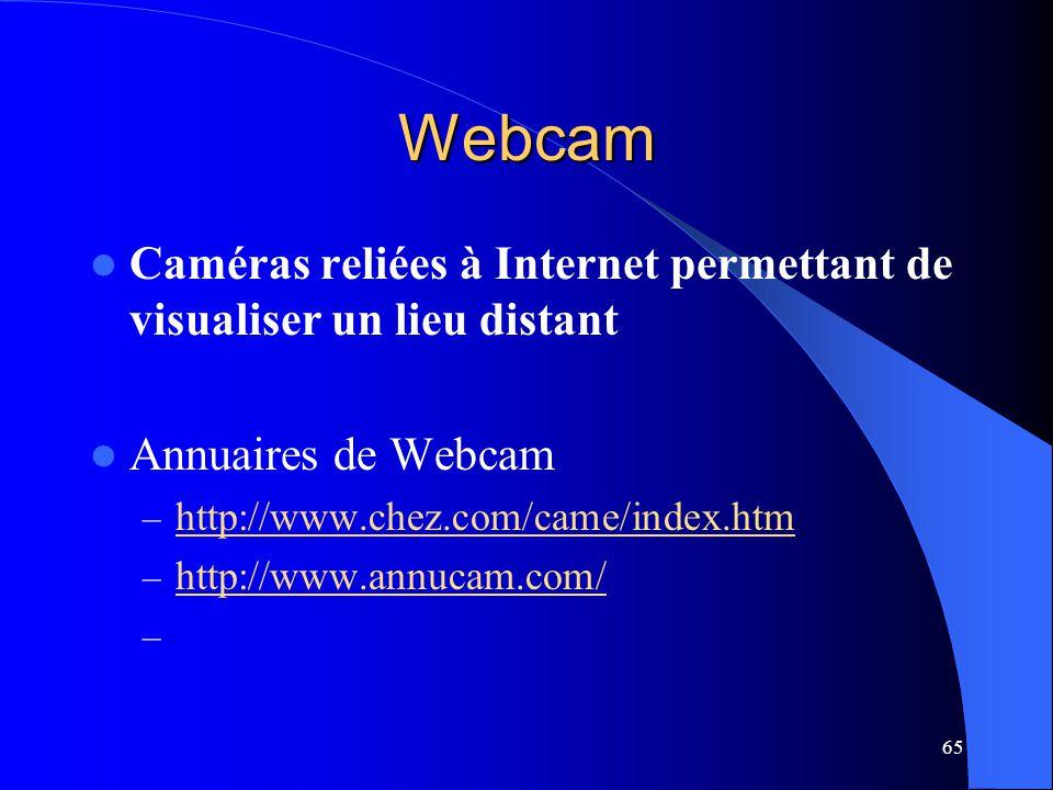 65 Webcam Caméras reliées à Internet permettant de visualiser un lieu distant Annuaires de Webcam – http://www.chez.com/came/index.htm http://www.chez