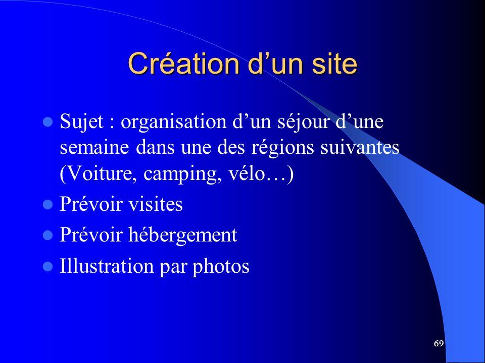 69 Création dun site Sujet : organisation dun séjour dune semaine dans une des régions suivantes (Voiture, camping, vélo…) Prévoir visites Prévoir héb