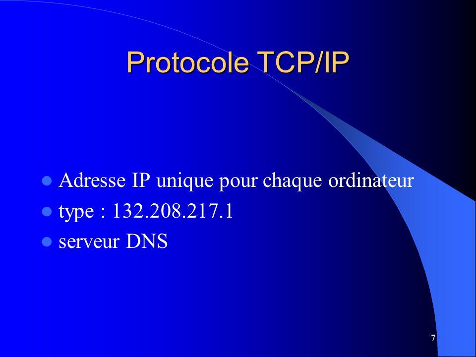 7 Protocole TCP/IP Adresse IP unique pour chaque ordinateur type : 132.208.217.1 serveur DNS