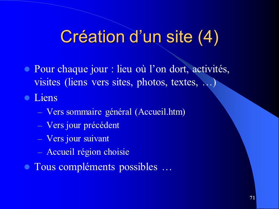 71 Création dun site (4) Pour chaque jour : lieu où lon dort, activités, visites (liens vers sites, photos, textes, …) Liens – Vers sommaire général (