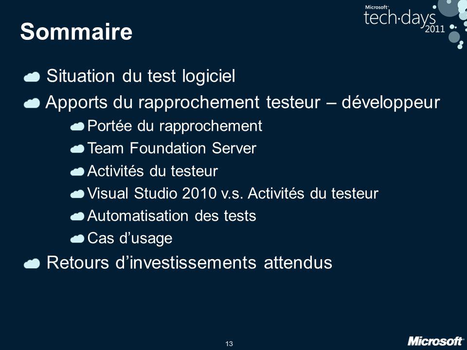 13 Sommaire Situation du test logiciel Apports du rapprochement testeur – développeur Portée du rapprochement Team Foundation Server Activités du test