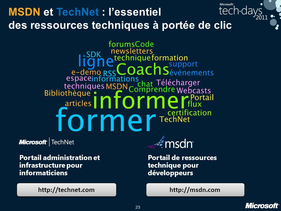 23 MSDN et TechNet : lessentiel des ressources techniques à portée de clic http://technet.com http://msdn.com Portail administration et infrastructure