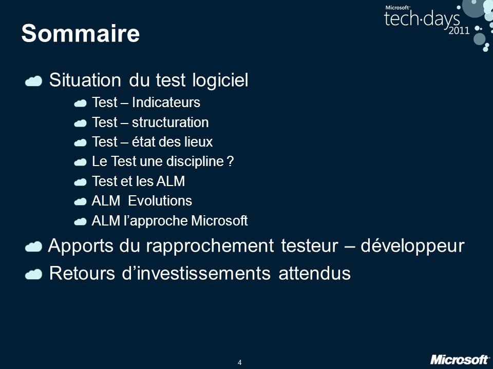 4 Sommaire Situation du test logiciel Test – Indicateurs Test – structuration Test – état des lieux Le Test une discipline ? Test et les ALM ALM Evolu