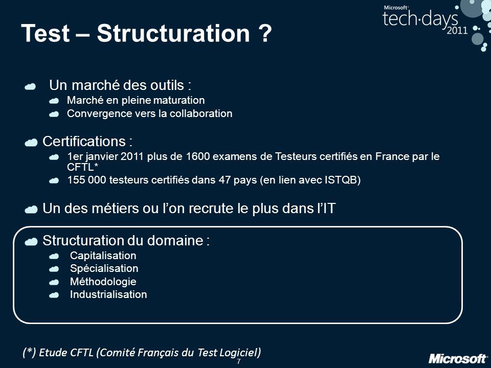 7 Test – Structuration ? Un marché des outils : Marché en pleine maturation Convergence vers la collaboration Certifications : 1er janvier 2011 plus d