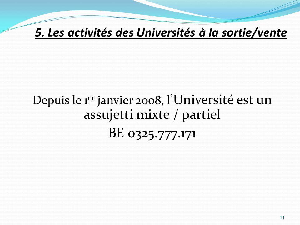 Depuis le 1 er janvier 2008, l Université est un assujetti mixte / partiel BE 0325.777.171 11 5. Les activités des Universités à la sortie/vente