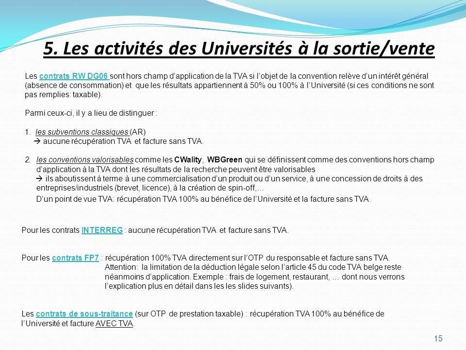15 5. Les activités des Universités à la sortie/vente Les contrats RW DG06 sont hors champ dapplication de la TVA si lobjet de la convention relève du