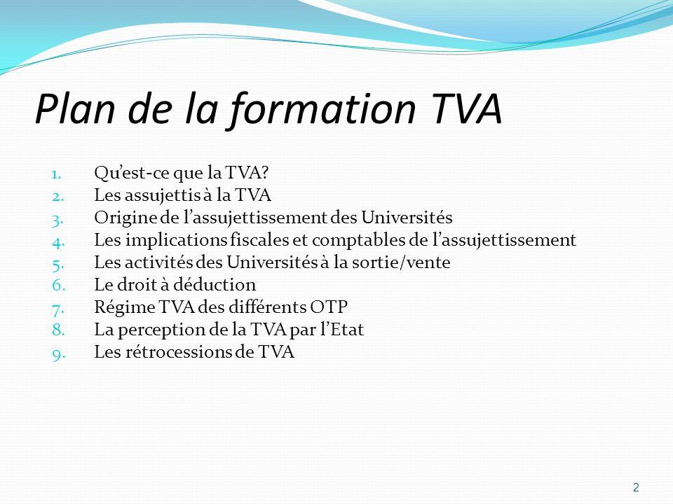 Plan de la formation TVA 1. Quest-ce que la TVA? 2. Les assujettis à la TVA 3. Origine de lassujettissement des Universités 4. Les implications fiscal