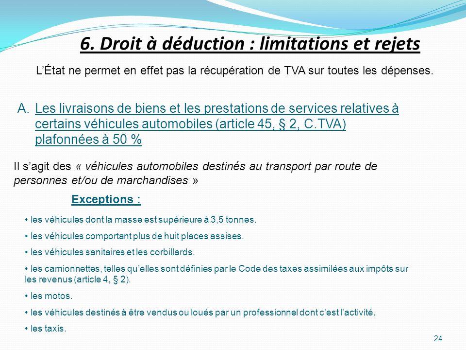 24 LÉtat ne permet en effet pas la récupération de TVA sur toutes les dépenses. A.Les livraisons de biens et les prestations de services relatives à c