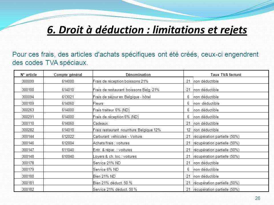26 Pour ces frais, des articles d'achats spécifiques ont été créés, ceux-ci engendrent des codes TVA spéciaux. 6. Droit à déduction : limitations et r
