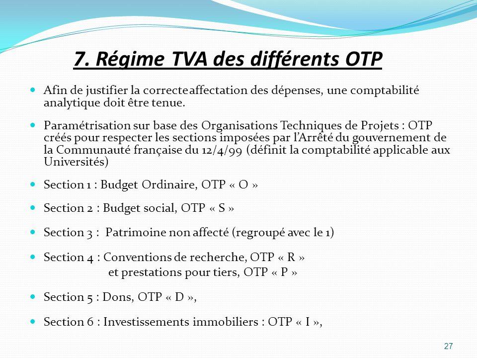 7. Régime TVA des différents OTP Afin de justifier la correcte affectation des dépenses, une comptabilité analytique doit être tenue. Paramétrisation