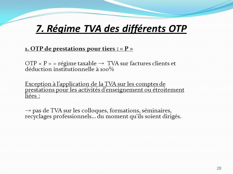 7. Régime TVA des différents OTP 1. OTP de prestations pour tiers : « P » OTP « P » = régime taxable TVA sur factures clients et déduction institution