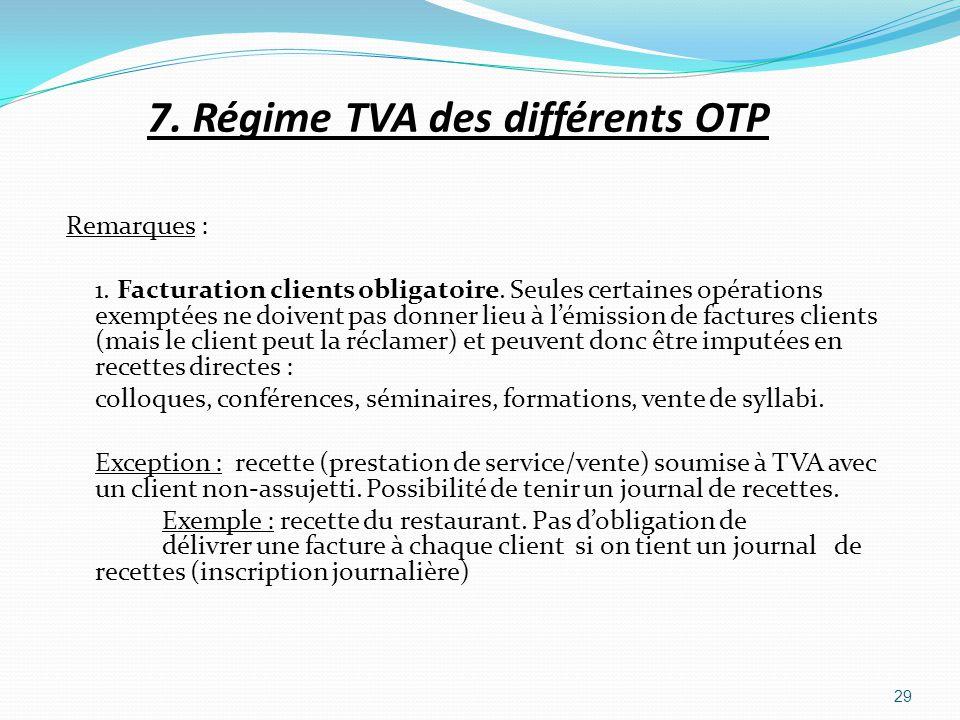 7. Régime TVA des différents OTP Remarques : 1. Facturation clients obligatoire. Seules certaines opérations exemptées ne doivent pas donner lieu à lé