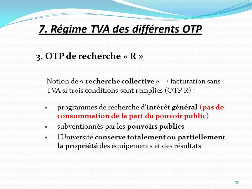 7. Régime TVA des différents OTP 3. OTP de recherche « R » Notion de « recherche collective » facturation sans TVA si trois conditions sont remplies (