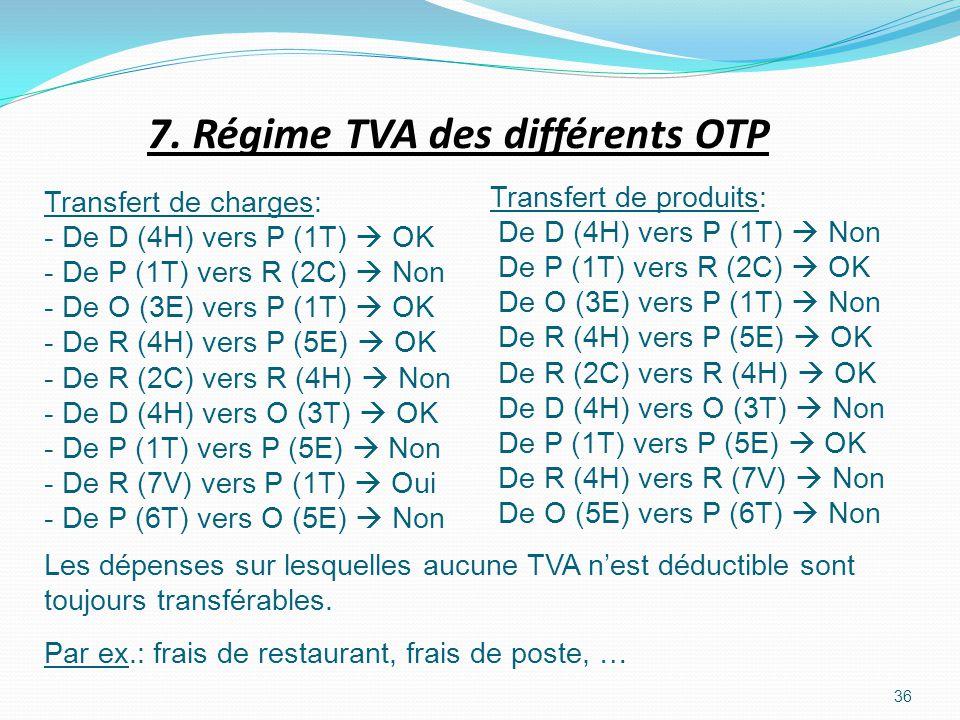 7. Régime TVA des différents OTP 36 Transfert de charges: - De D (4H) vers P (1T) OK - De P (1T) vers R (2C) Non - De O (3E) vers P (1T) OK - De R (4H