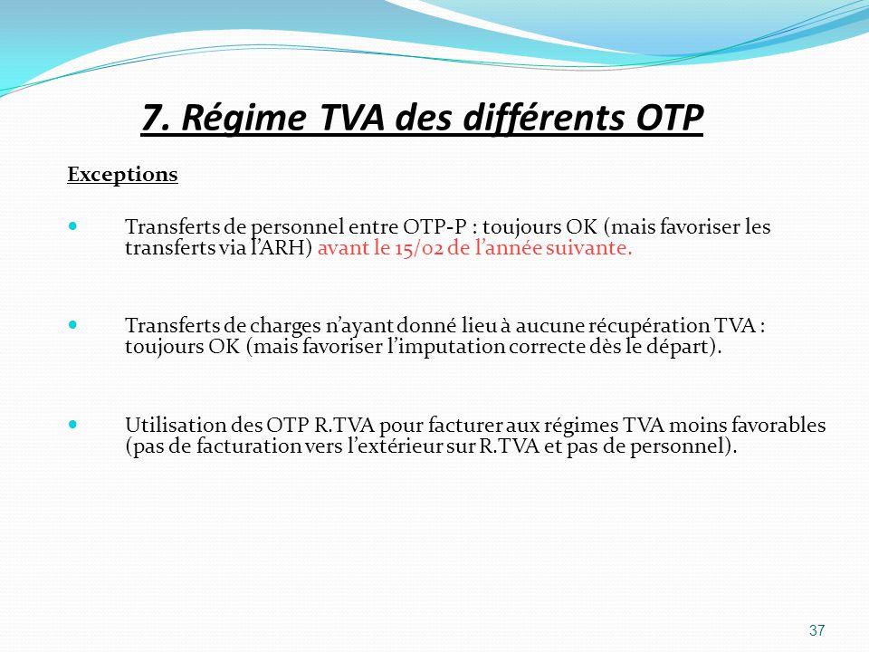 7. Régime TVA des différents OTP Exceptions Transferts de personnel entre OTP-P : toujours OK (mais favoriser les transferts via lARH) avant le 15/02