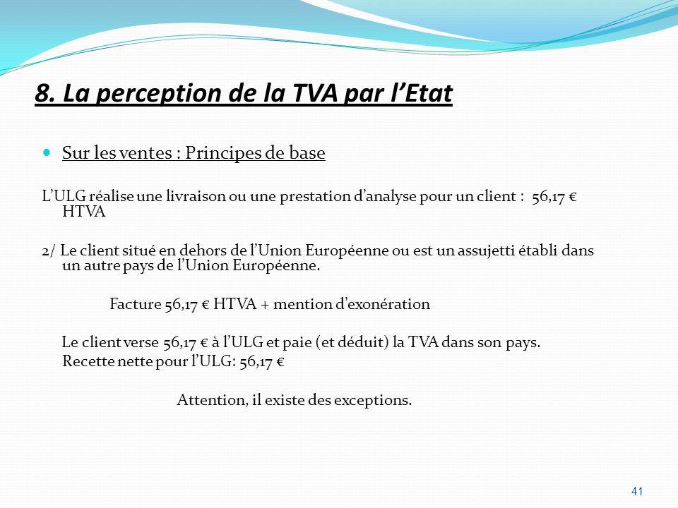8. La perception de la TVA par lEtat Sur les ventes : Principes de base LULG réalise une livraison ou une prestation danalyse pour un client : 56,17 H