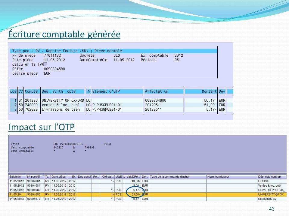 Écriture comptable générée 43 Impact sur lOTP