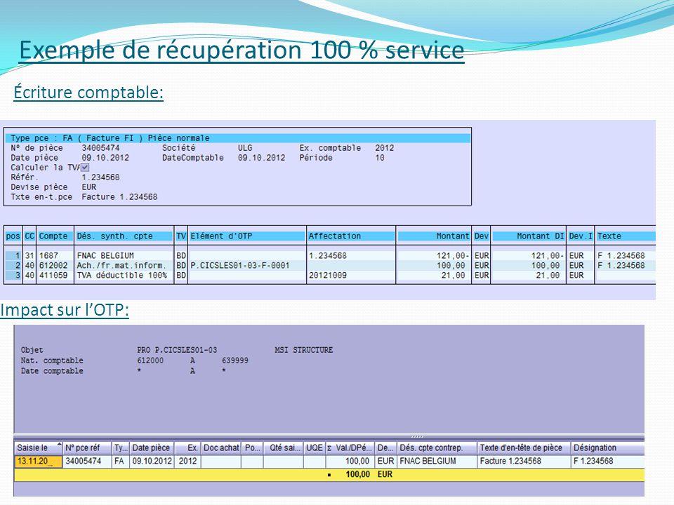 Impact sur lOTP: 46 Exemple de récupération 100 % service Écriture comptable:
