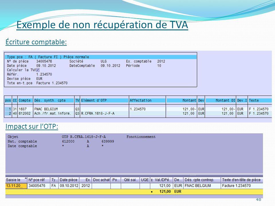 Impact sur lOTP: 48 Exemple de non récupération de TVA Écriture comptable: