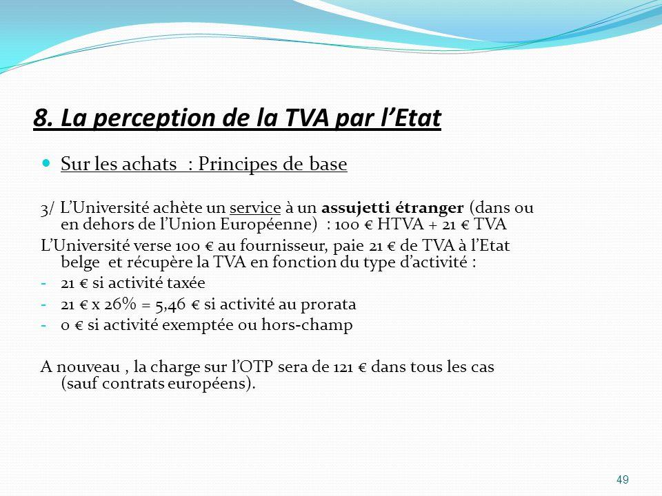8. La perception de la TVA par lEtat Sur les achats : Principes de base 3/ LUniversité achète un service à un assujetti étranger (dans ou en dehors de