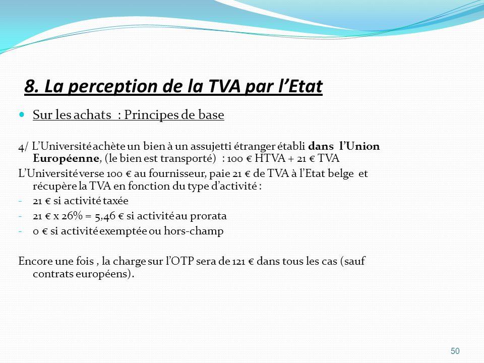 8. La perception de la TVA par lEtat Sur les achats : Principes de base 4/ LUniversité achète un bien à un assujetti étranger établi dans lUnion Europ