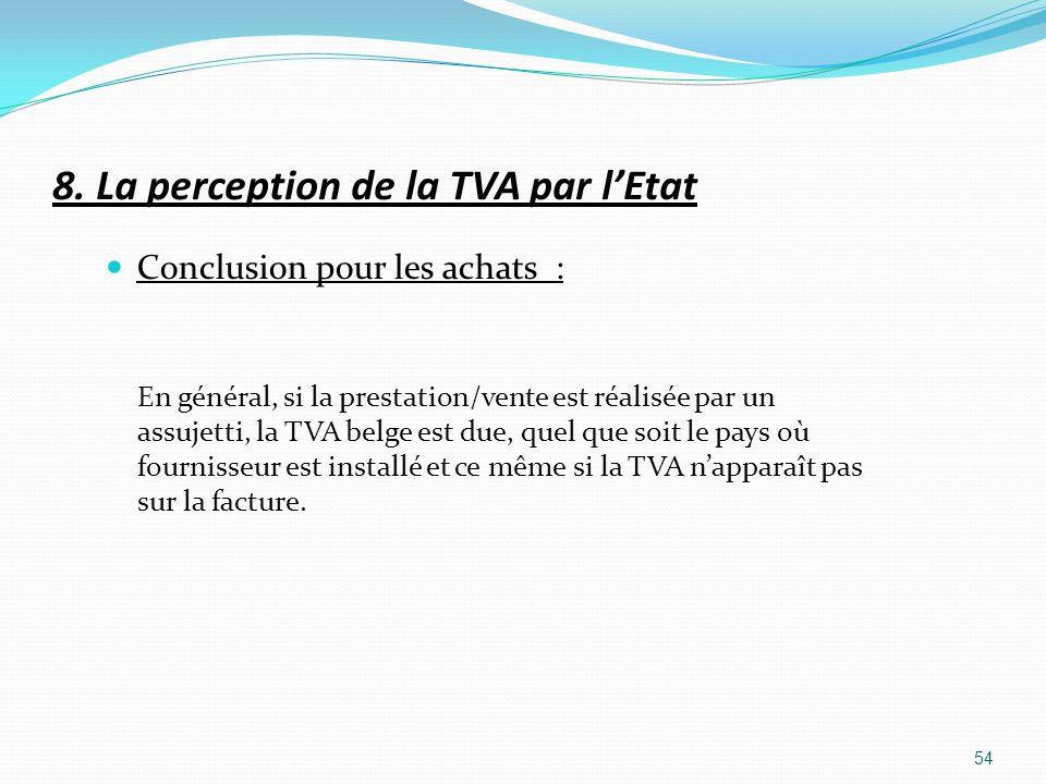8. La perception de la TVA par lEtat Conclusion pour les achats : En général, si la prestation/vente est réalisée par un assujetti, la TVA belge est d