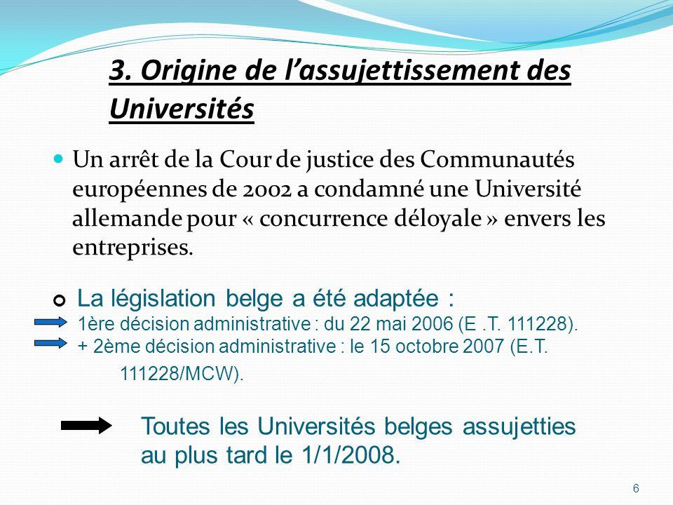 3. Origine de lassujettissement des Universités Un arrêt de la Cour de justice des Communautés européennes de 2002 a condamné une Université allemande