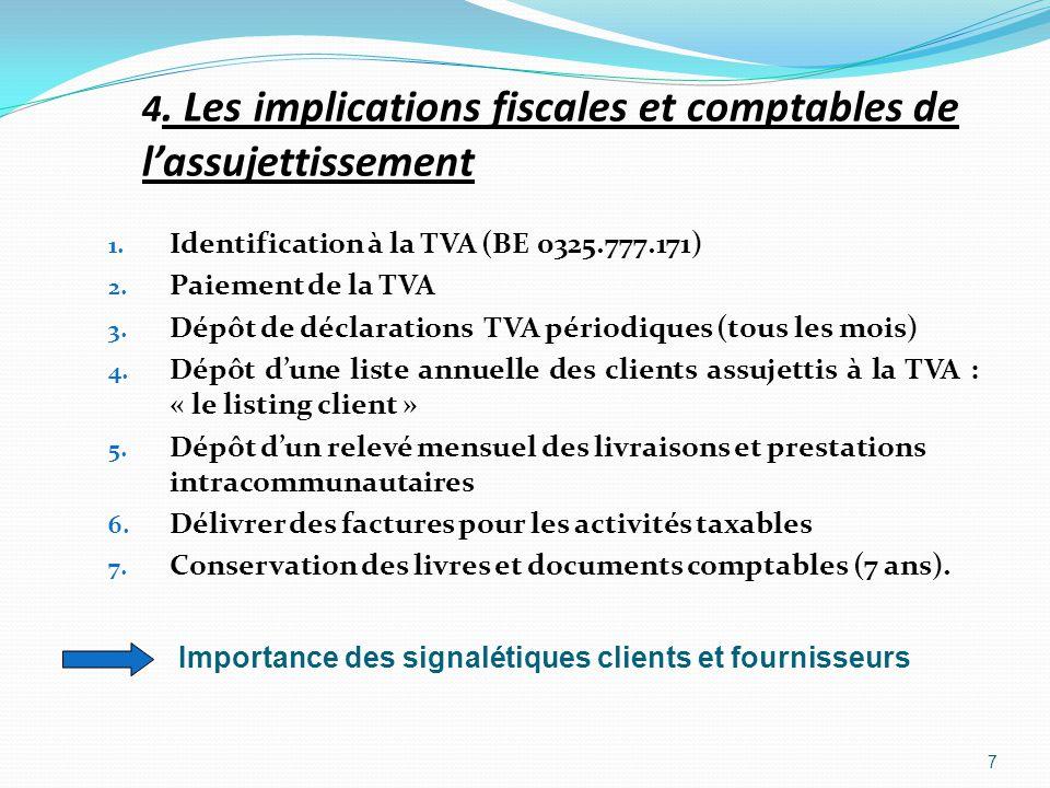 4. Les implications fiscales et comptables de lassujettissement 1. Identification à la TVA (BE 0325.777.171) 2. Paiement de la TVA 3. Dépôt de déclara