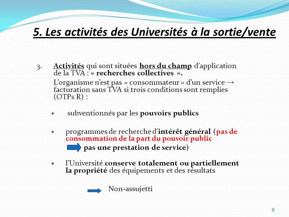 3. Activités qui sont situées hors du champ dapplication de la TVA : « recherches collectives ». Lorganisme nest pas « consommateur » dun service fact