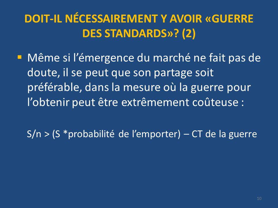 DOIT-IL NÉCESSAIREMENT Y AVOIR «GUERRE DES STANDARDS».